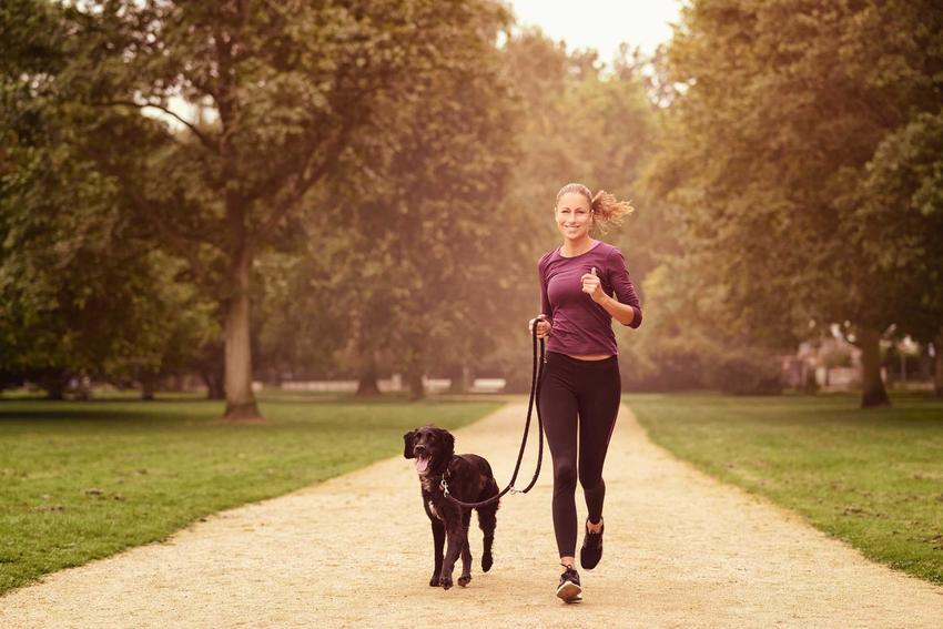 Kobieta biegnąca z psem trzymanym na lince treningowej, a także rodzaje oraz zastosowanie linek treningowych dla psa