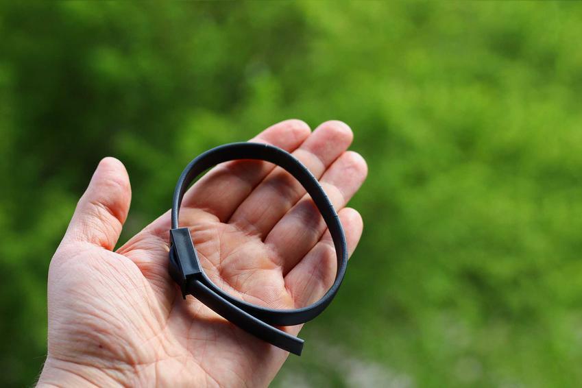 Czarna obroża przeciwpchielna na dłoni, a także opis działania, skuteczność, opinie oraz ceny