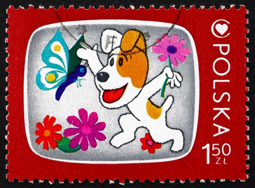 Pies Reksio na znaczku pocztowym, a także inne TOP 5 najbardziej popularnych psów z różnych kreskówek